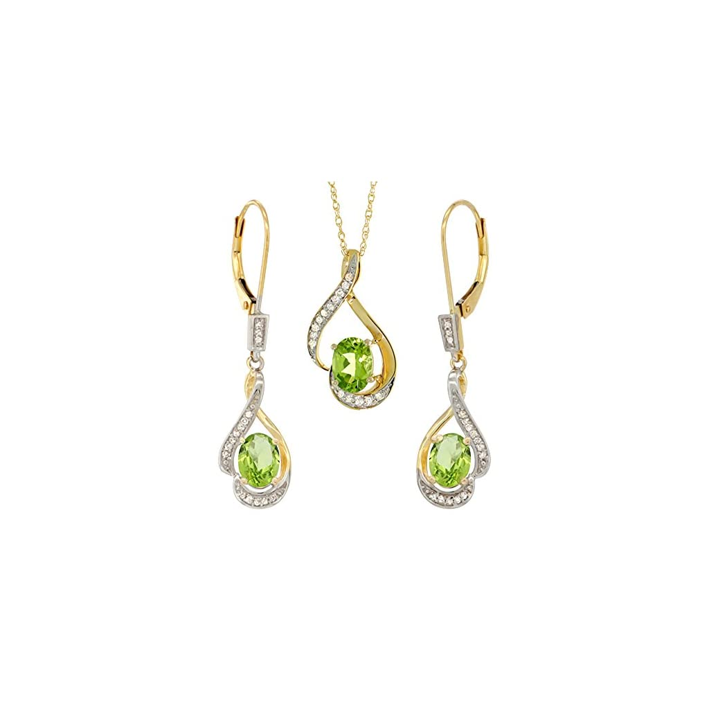 14K Yellow Gold Diamond Natural Peridot Lever Back Earrings & Necklace Set Oval 7x5mm, 18 inch long