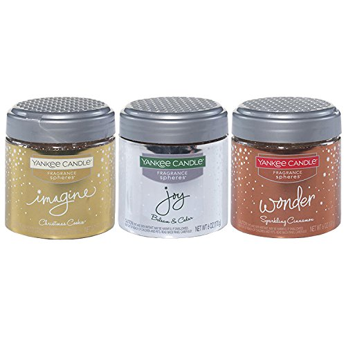 - Yankee Candle Favorite Holiday Fragrance Spheres Odor Neutralizing Beads Collection (Balsam & Cedar, Christmas Cookie, Sparkling Cinnamon)