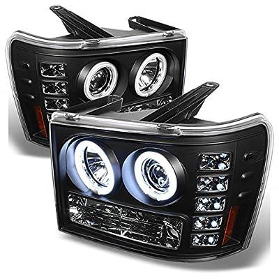GMC Sierra 1500/2500/3500 Pickup Truck Black Bezel CCFL Halo LED Projector Headlights Replacement