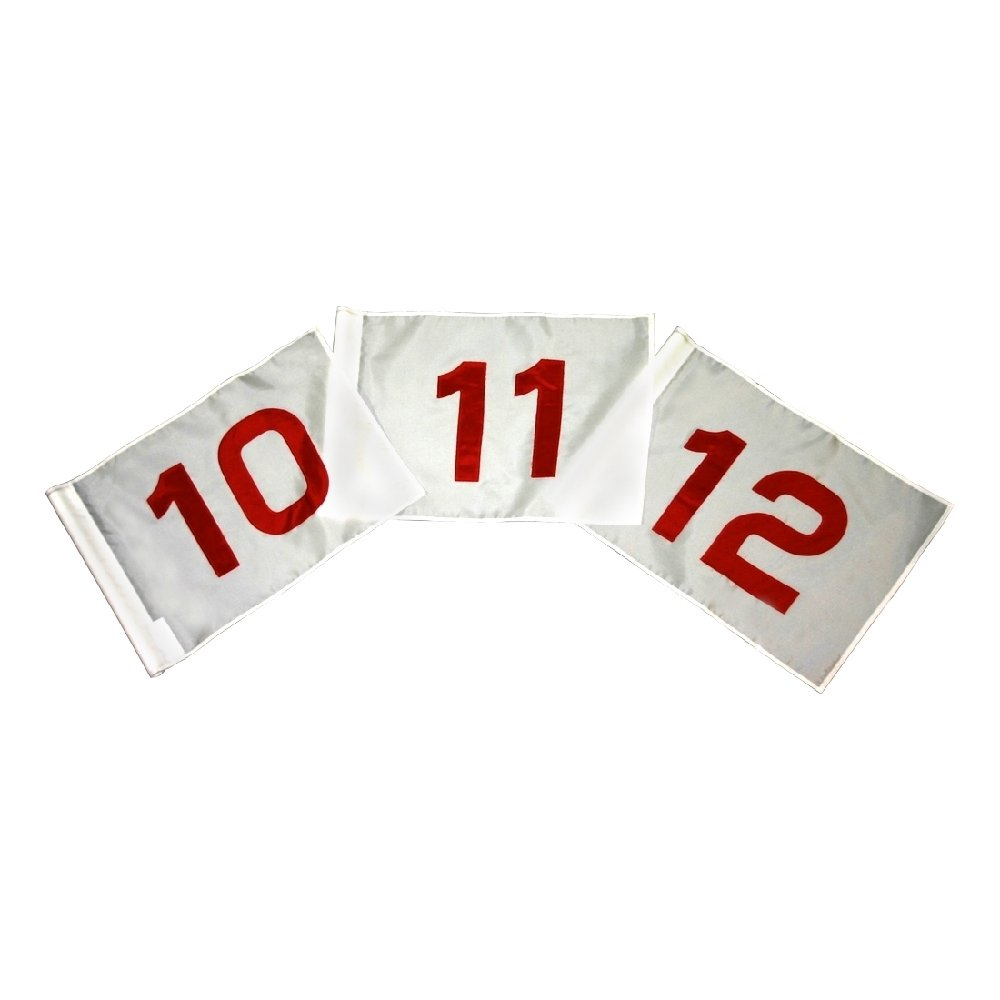 Golf Flag Set - Red and White Flag #'s 1-18 14 in. x 20 in. by Flags Unlimited