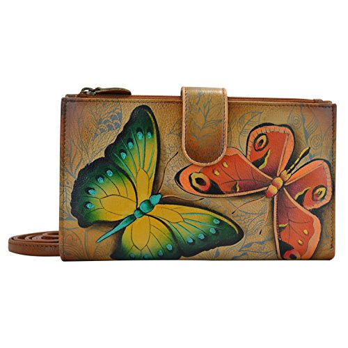 Anuschka Women's Hand Painted Large Smartphone Case & Wallet Earth Song