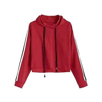 Damen Kapuzenpullover Roter Mumuj Fashion Gestreifter Crop
