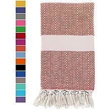Eshma Mardini Natural Turkish Towel Peshtemal - 100% Natural Dyed Cotton - for Beach Spa Bath Swimming Pool Hammam Sauna Yoga Pilates Fitness Gym Picnic Blanket - (Crimson Red)