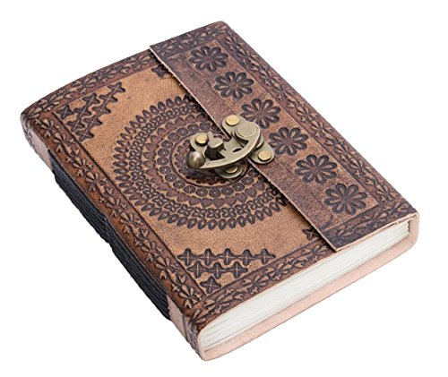 Handmade Genuine Leather Personal Diary Writing Book Journal With Lock (Design 1) 7 X 5 Inches
