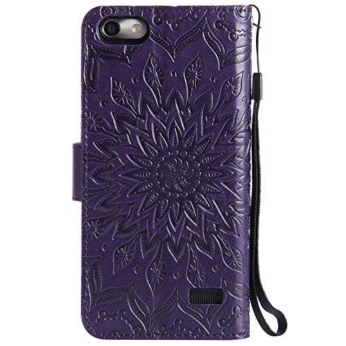 YHUISEN Huawei Honor 4C, diseño de la impresión de la flor del sol Caja de cuero de la PU del tirón del tirón de la impresión del cordón con la ranura para tarjeta del soporte para Huawei Honor 4C ( C Purple
