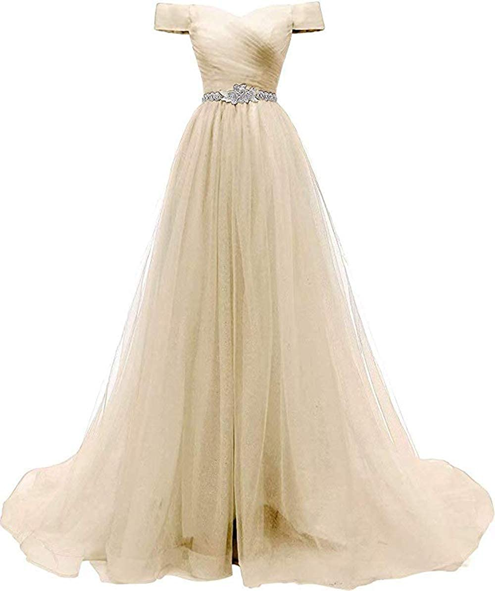 Champagne Rmaytiked Womens Off The Shoulder Beaded Tulle Prom Dresses 2019 Aline Evening Formal Gown