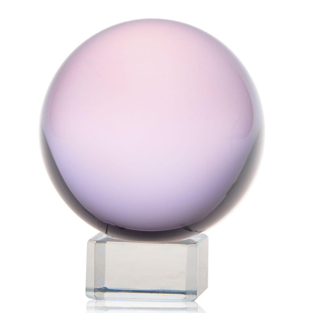 H&D Crystal Meditation Ball Globe Free Stand (pink)
