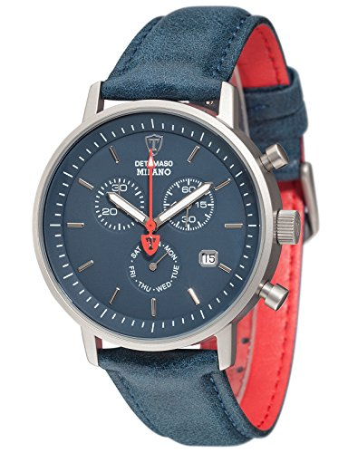 DETOMASO Milano Men's Wrist Watch Chronograph Stainless Steel Blue Leather Strap