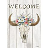 Steer Floral – Standard Size, Decorative Double Sided, Licensed and Copyrighted Flag – Printed IN USA by Custom Decor Inc. 28 Inch X 40 Inch approx. For Sale