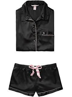 Victoria s Secret The Afterhours Satin Boxer Pajama Pink White ... 69423eb69