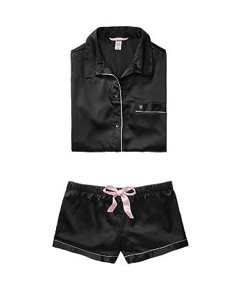 Victorias Secret The Afterhours Satin Boxer Pajama Black (Small)