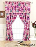 Pink Hoot OWL Curtains DRAPES SET 'PEEK A BOO' 5 Pieces Window Treatment (unlined)PANELS w/2-Tiebacks + VALANCE Ensemble Gift Set (63″L X 84″W) Review