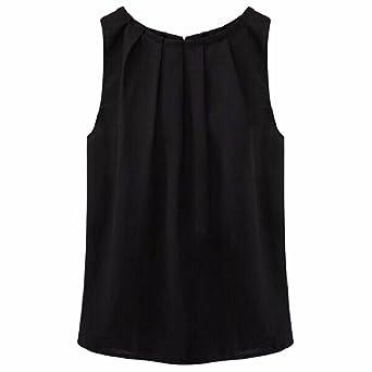 QIYUN.Z Las Mujeres Sin Mangas De Las Camisas del Chaleco De La Gasa del Color Solido del Collar Plisada Verano Camisetas: Amazon.es: Ropa y accesorios