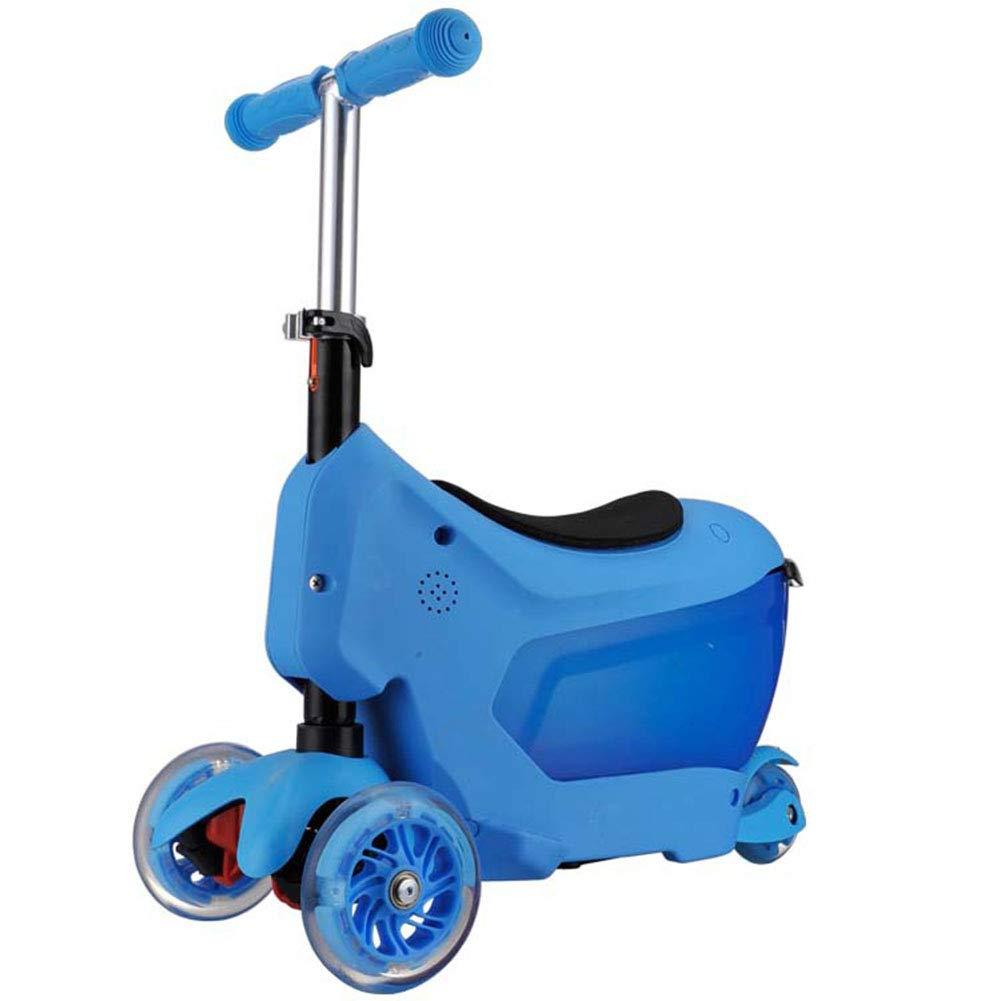キックスクーター 足踏み式ブレーキ 折りたたみ式 ウィール ハンドブレーキ 持ち運び便利なベ 1の3 持ち上げることができます Puフラッシュホイール 子 アルミニウム製 立 B07NMPH81S blue blue