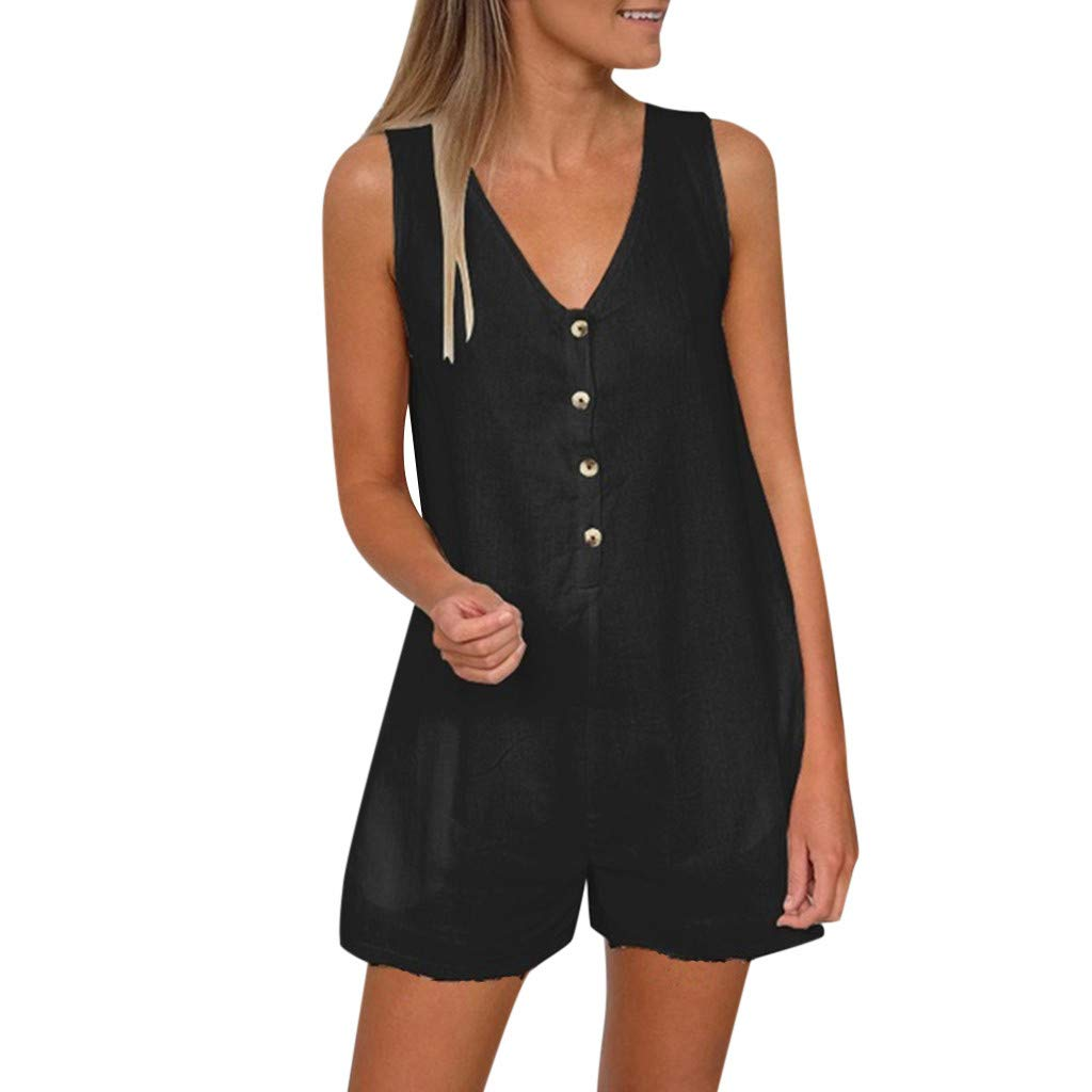 WUAI Womens Short Rompers Summer Sexy V-Neck Loose Spaghetti Strap Short One Piece Jumpsuit (Black,Large)