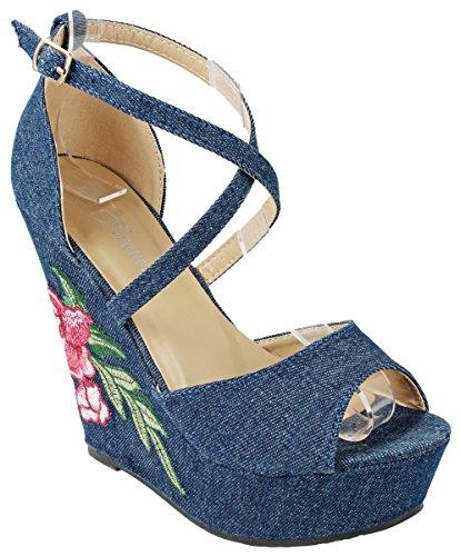Women Valeria Blue Denim Criss Cross Strap Buckle Floral Embroidered Platform Wedge (Shoe Blue Denim)