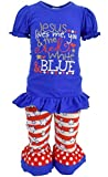 Unique Baby Girls Jesus Love Me 4th of July Boutique Outfit (5T/L, Blue)