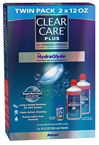 51A43T34OSL - Clear Care Plus Cleaning and Disinfecting Solution with Lens Case, Twin Pack, 12-Ounces Each