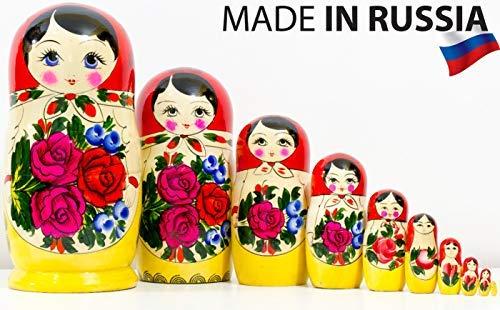 Russian Nesting Doll - Semenovo - Hand Painted in Russia - Traditional Matryoshka Babushka (10.25``(10 Doll in 1) -