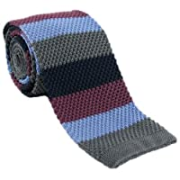 Grey Striped Skinny Silk Knitted Tie by Michelsons