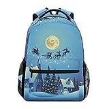 JSTEL Church And Houses Christmas Night School Backpacks For Girls Kids Elementary School Shoulder Bag Bookbag