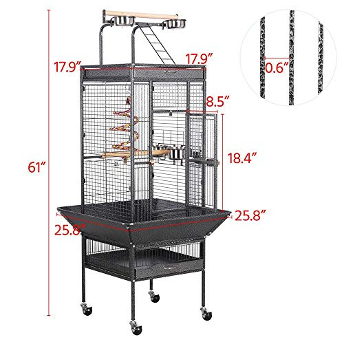 Yaheetech 61-inch Rolling Wrought Iron Large Bird Cages for Small Quaker African Grey Amazon Parrots Cockatiels Sun Parakeets Green Cheek Conures Doves Lovebirds Budgies Play Top Bird Cage with Stand