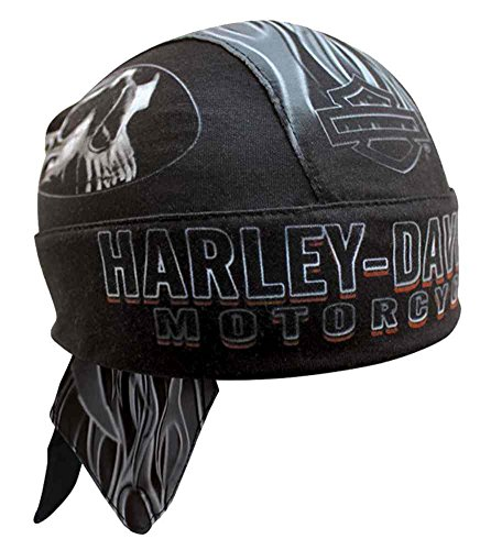HARLEY-DAVIDSON Men's Engulfed Flaming Skull Head Wrap, Moisture Wicking HW15290 Black (Harley Davidson Helmet Liner)