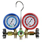 Kyпить F2C HVAC A/C Refrigeration Kit AC Manifold Gauge Set Brass R134A Auto Service Kit w/ 5ft Colored Hoses, 1/4