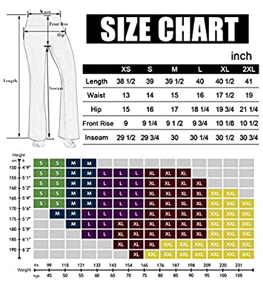 ODODOS Power Flex Boot Cut Yoga Pants Tummy Control Workout Running 4 Way Stretch Boot Leg Yoga Pants