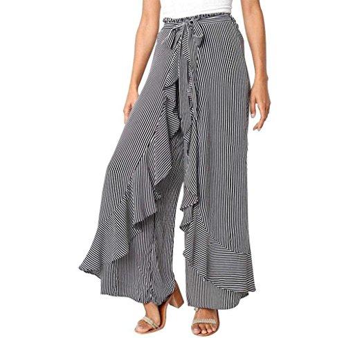 Chic Estivi Tempo Trousers Libero Waist Donna Larghi High Pantaloni Con Abbigliamento Ragazza Pantalone Strisce Palazzo Volant A Nero Pants OOPvxBZqw