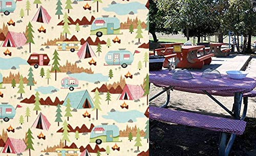 Custom Stay Put Reusable Fabric Fitted Tablecloth for 6 Ft Picnic, RV or Camping Bench 3 Piece Set, Table and 2 bench set. Vintage Campers. No more hot or dirty seats. Fitted Table Cover for Camping