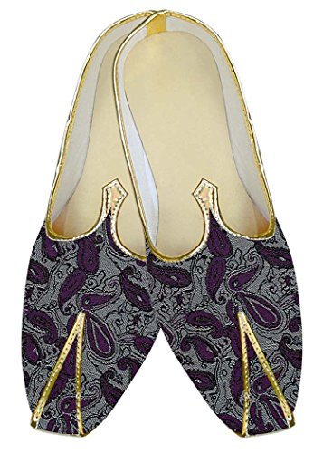 Plata Zapatos Poliéster Inmonarch Boda Mj010556 Paisley Púrpura Hombres 6WpUxSpn