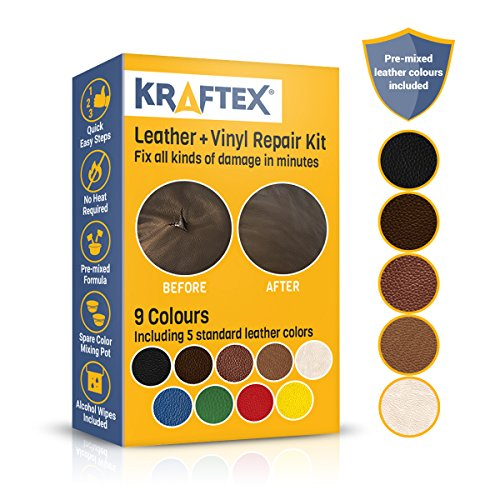 Leather and Vinyl Repair Kit. Repairs and Touch Ups [Restore Scratches, Stains and Cracks] to Any Colored Couches, Car Seats, Shoes, Handbags Or Dashboards. Easily Match Colors with 5 Leather Shades (Brown Microfiber Fabric)