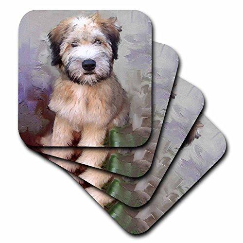 3dRose cst_4810_3 Soft Coated Wheaten Terrier Ceramic Tile Coasters, Set of 4 - Soft Coated Wheaten Terrier Tile