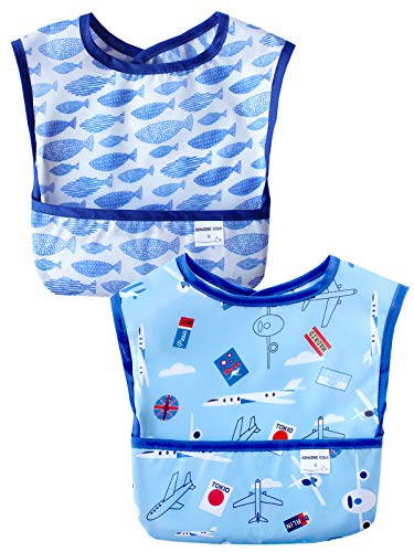 Sincere Baby Waterproof Starter Bibs Infant Washable Stain and Odor Resistant Easy Clean with Pocket(6M-36M) Pack of 2(Fish&Plain/M) ()