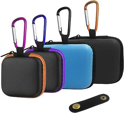 FineGood - 4 Fundas para Auriculares y 1 Clip de Cable, Bolsa de Almacenamiento portátil de EVA con mosquetones para Mini Auriculares con Cable USB, Color Negro, Azul, Naranja, Morado: Amazon.es: Electrónica