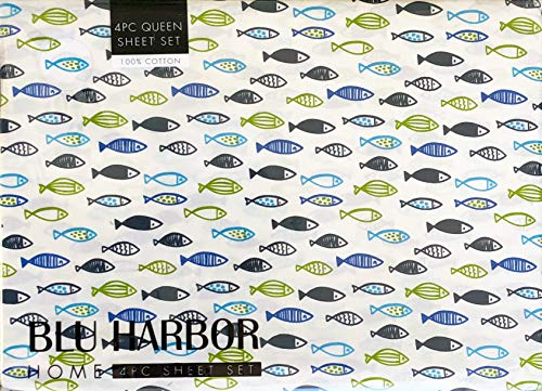 Blu Harbor 4 Pc Cotton Sheet Set Geometric Fish Pattern Ocean Sea Life in Shades of Blue Black Green on White (Queen) ()