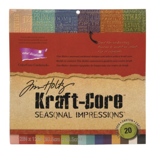 - Darice GX-1930-00 20-Pack Core'dinations Tim Holtz Color Core Cardstock, Kraft-Core Seasonal Impressions, 12 by 12-Inch, Assorted Color