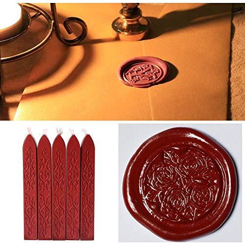 Elevin(TM)  5Pcs Wine Red Manuscript Sealing Seal Wax Sticks Wicks for Postage Letter ()