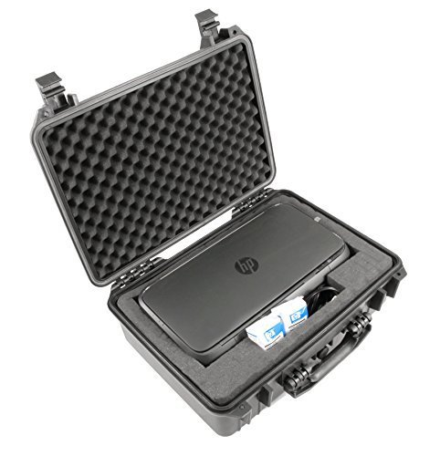CASEMATIX Waterproof Portable Printer Case Fits HP Officejet 250, Ink and Small Cables - Customizable Crushproof Travel Case for Wireless Mobile Printer (RMR18-PRNT-250)