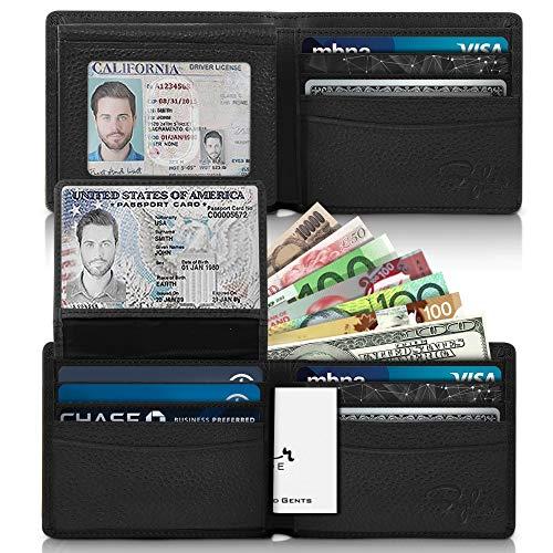 2 ID Window RFID Wallet for Men, Bifold Top Flip, Extra Capacity Travel Wallet ()