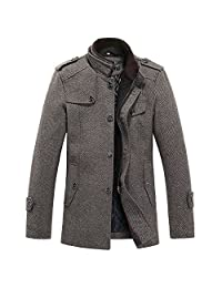 sulandy@ Men's Winter Warm Soft Wool Blend Pea Coats Slim Fit (Coffee-Thick, US Medium(Tag X-Large)) by sulandy