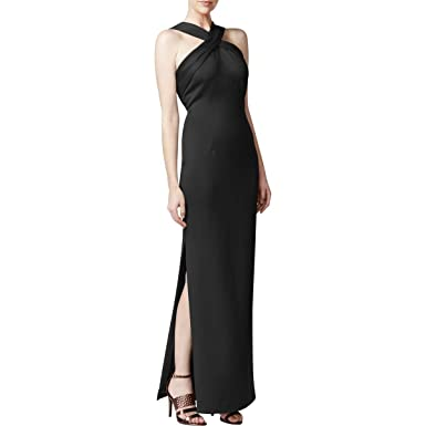 Calvin Klein Womens Halter Full Length Evening Dress Black 10 At