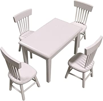 Amazon.es: 1:12 Casa de muñecas Cocina Mesa de jardín Silla de muñecas Juego de Muebles casa de muñecas de Madera Mesa de Comedor Familiar y sillas Accesorios (Blanco): Juguetes y juegos