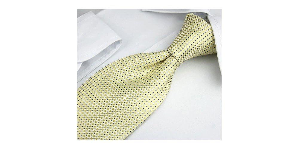 boutons de manchette Coffret Jakarta pince /à cravate pochette de costume Cravate jaune dor/é /à motifs carr/és et petits carr/és bleus