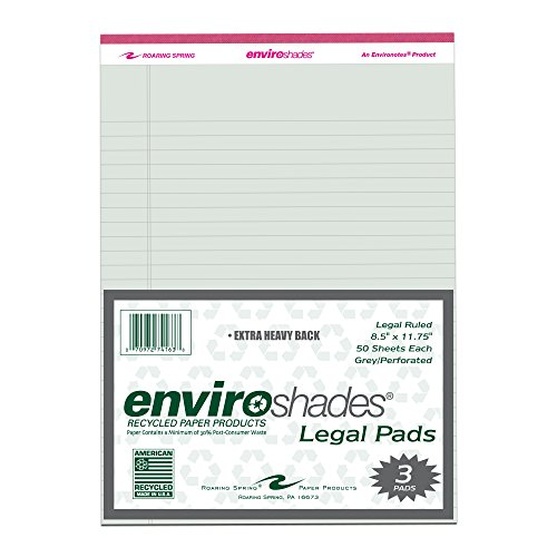 "Roaring Spring Enviroshades 8.5"" x 11.75"" Grey Legal Pads, 3/pack"