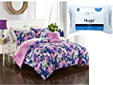 Formula May Flowers 6-Piece TWIN XL Size Bed in a Bag Bedding Set with Mainstays HUGE 20″ x 28″ Pillow in Blue and White Stripe