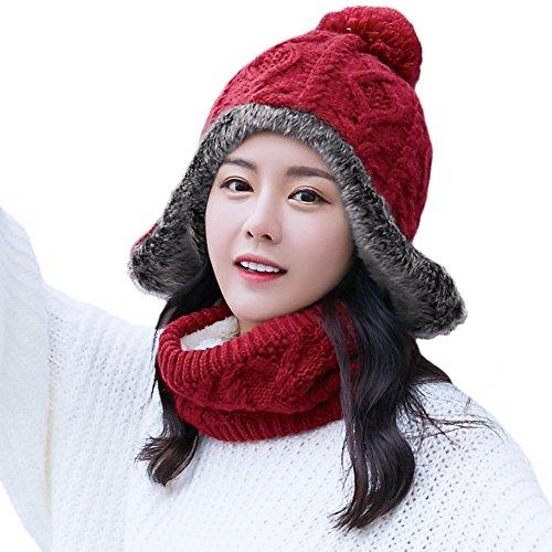 SIGGI 2 Piece Wool Knit Hat & Scarf Sets Wool Peruvian Beanie Ear-Flaps Hat Womens Winter Snow Ski Hat Cold Weather Red