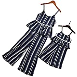 PopReal Mom and Me Stripes Ruffle Trim Pants Set and Jumpsuits Family Matching Outfits