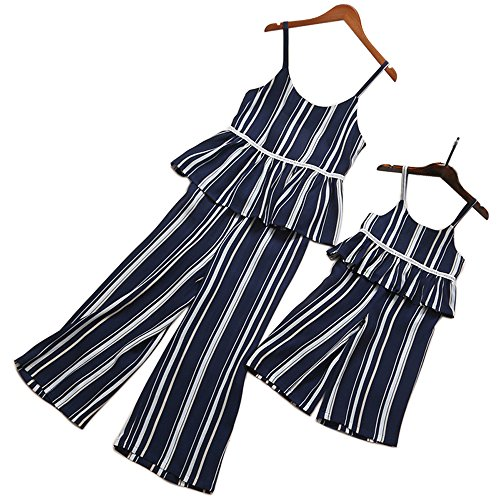 PopReal Mom and Me Stripes Ruffle Trim Pants Set and Jumpsuits Family Matching Outfits by PopReal
